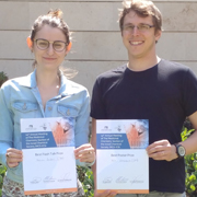 Congratulations to the PhD students Marina Buzhor and Kfir Steinbuch from the School of Chemistry for winning prizes in the annual meeting of the Medicinal Chemistry Section of the Israel Chemical Society