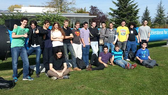 Tel Aviv University students near an LHC magnet at CERN
